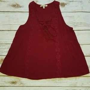 ⬇️⬇️$25 Bleuh Ciel Maroon BOHO Top Embroidered XS